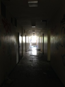 An empty and deserted corridor.